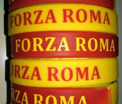 10 braccialetti in silicone personalizzati Forza Roma