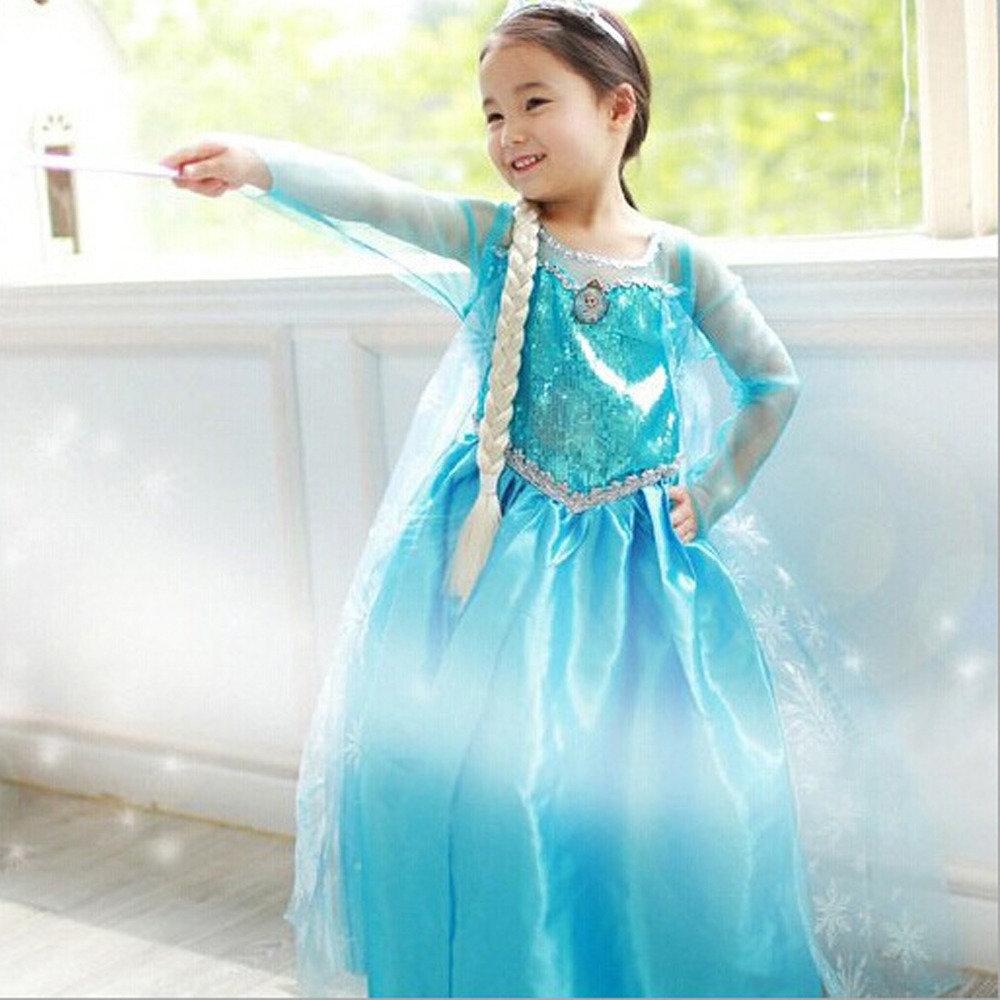 costume Principessa Elsa Frozen vestito + accessori maschera carnevale bambina