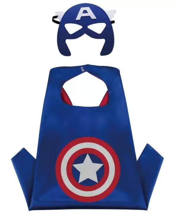 (Scegli il personaggio) Set Maschera + Mantello costume carnevale travestimento cosplay bambini