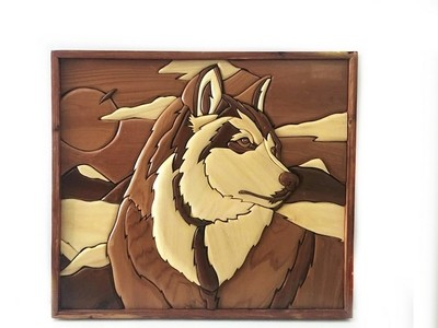 Hand Crafted Husky Dog Wooden Wall Sculpture Dog Lovers Decor