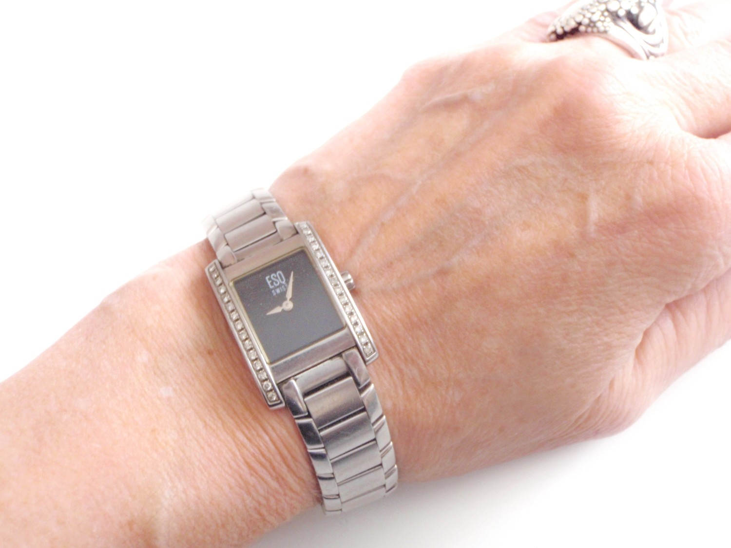ESQ Movado Diamond Bezel Watch 1990s Esquire Ladies Wristwatch