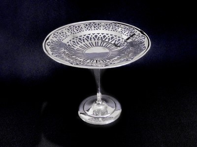 Pierced Duchess Silver Tazza Compote Tray - Plated Tall Footed Serving Bowl