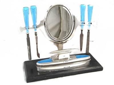 Art Deco British Silver Blue Guilloche Enamel Vanity Mirror Manicure Set c. 1930