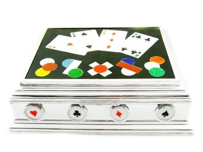 RARE Dunhill Silver Pietra Dura Games Box for Cards Gambler Card Player