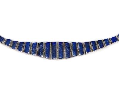 Bold Vintage Lapis Lazuli 950 Silver Bangle Bracelet