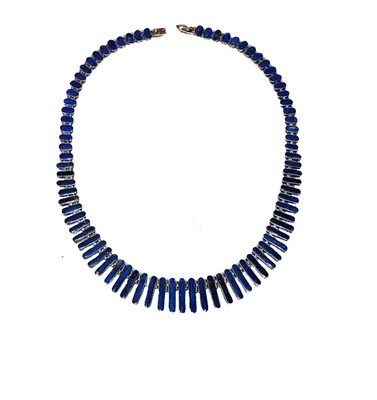 Vintage Lapis Lazuli 950 Silver Collar 18 Inch Necklace