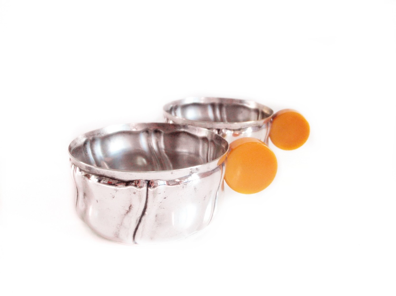 6 Butterscotch Bakelite Silver Cups for Punch, Nuts, Candy Bonbons