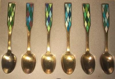 6 Georg Jensen Silver Harlequin Guilloche Demitasse Spoons Boxed