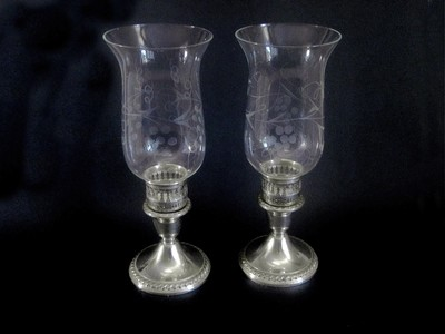 2 Antique Rogers Sterling Candle Holder with Hurricane Shades