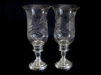 2 Art Deco Birks Sterling Candlesticks Etched Hurricane Shades