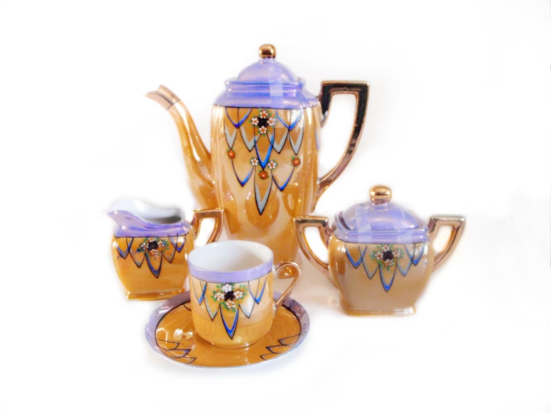 Art Deco Lusterware 17pc Espresso Coffee Set Hand Painted Porcelain