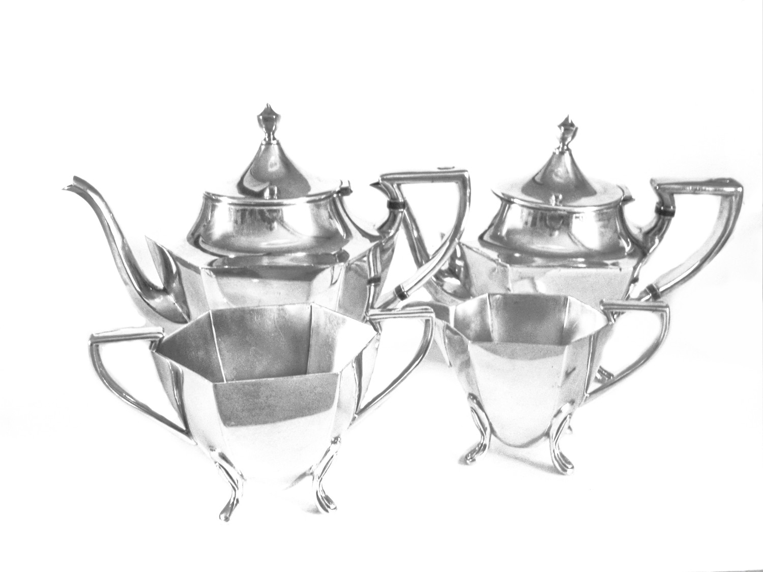 Vintage Rogers Silver 4 pc Art Deco Coffee and Tea Set