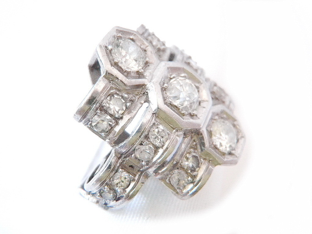 Genuine 1920s Art Deco Diamond Platinum Engagement Cocktail Ring