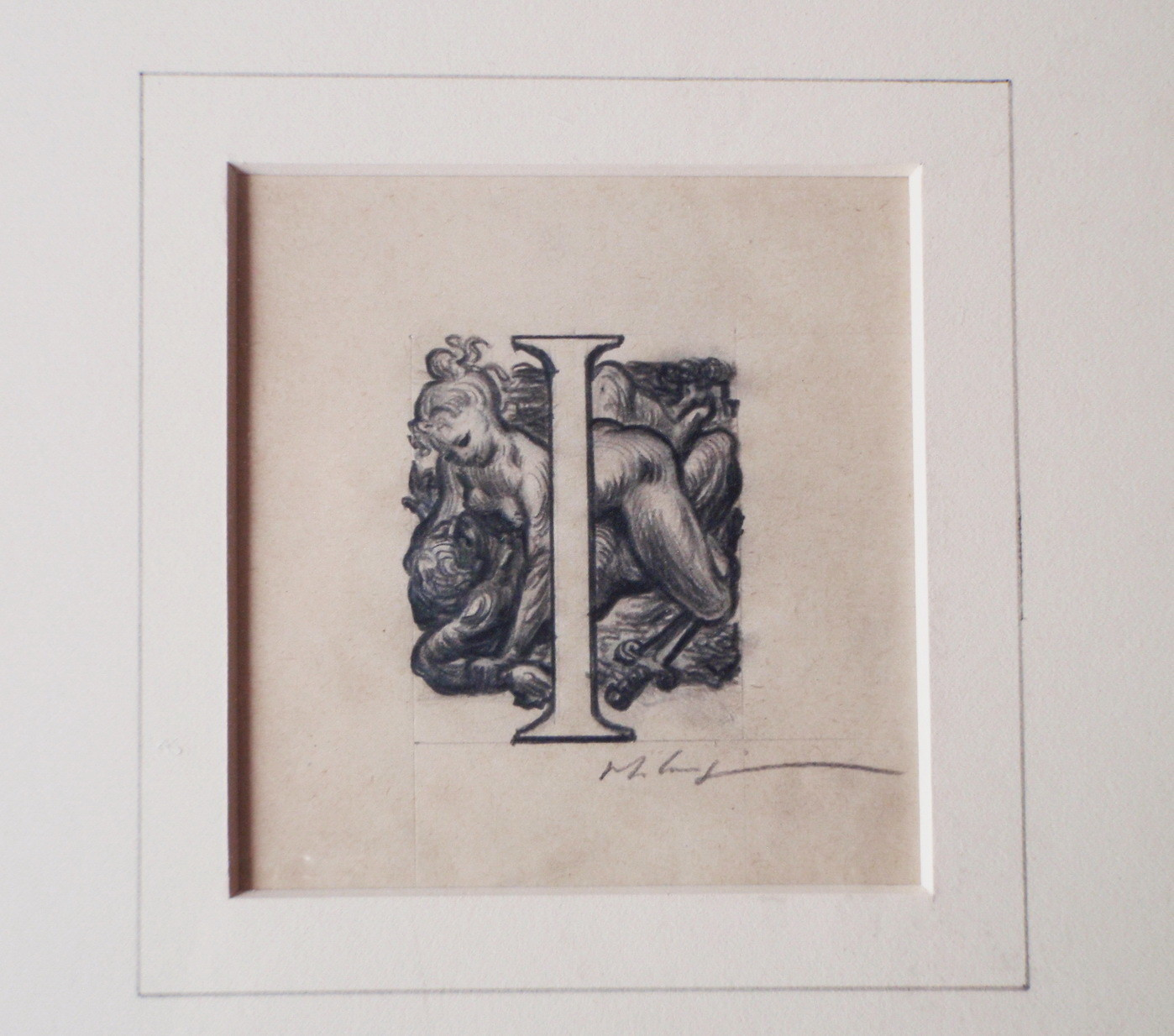 Original Valentine le Campion Erotic Drawing and Woodcut Engraving 1935