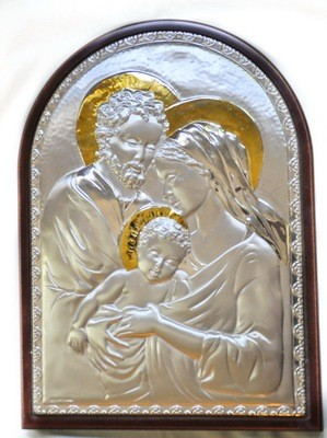 Vintage Sterling Religious Collectible, 14k Gold Plated, Holy Family Wall Plaque, Prayer
