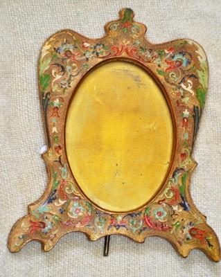 Art Nouveau Ronson 24kt Gold Flashed Frame Champleve Enamel