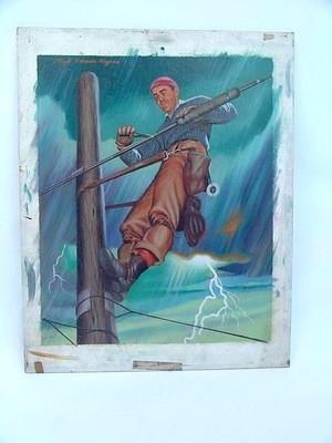 Illustrator Lloyd Rognan Hydro Lineman 50's Oil Painting Illustration