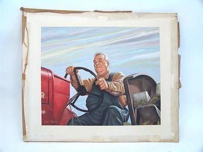 Listed Illustrator Lloyd Rognan Farmer Tractor Painting Americana Illustration