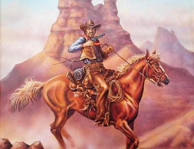 Pulp Fiction Cover Illustration Art Cowboy and Horse Death Valley  sg'd David Higgins