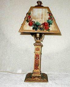 Ronson AMW Gilt and Polychromed Slag Glass Table Lamp