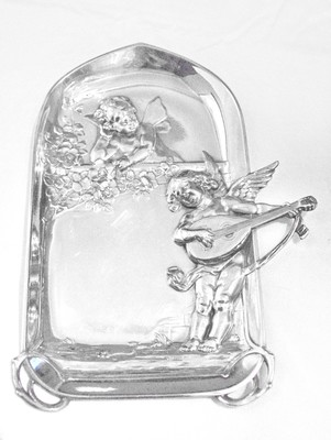 WMF Silver Girl Chrubs Kittens Vanity Calling Card or Jewelry Tray