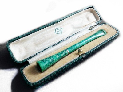 Art Deco RARE Shagreen & Gold Sg'd Cigarette Holder in Original Case