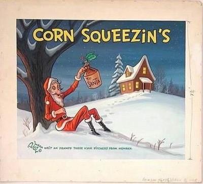 Lloyd Rognan Drunk Santa Hillbilly Illustration Art Painting Brown Bigelow