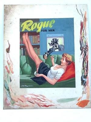Lloyd Rognan Original Watercolour Painting for Rogue Magazine Cover Sultry Lady and Classic Wolf