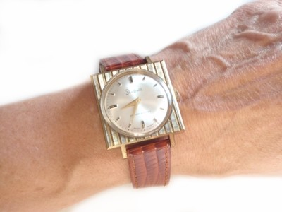 1950s Bulova Square Sheffield Watch with Vertical Stippling