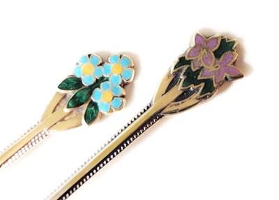 8 Birmingham Silver Enamel Flower Spoons Boxed Flatware