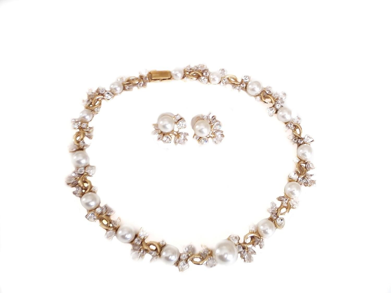 Heart Crystals Pearls Necklace Earrings Set Bridal Wedding Choker