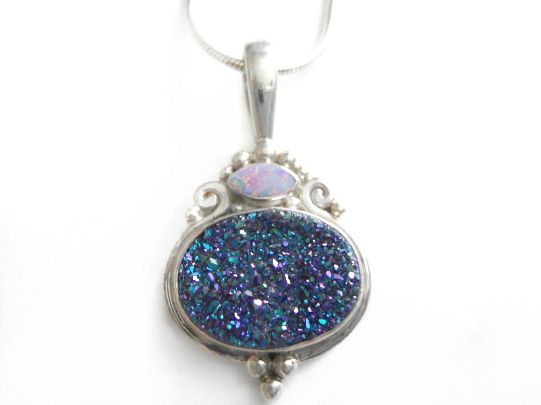 Sajen Metallic Blue Druzy Silver Opal Pendant and Chain
