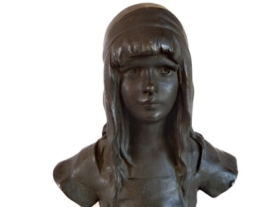 French Bronze Young Girl Sculpture by Henry Alphonse Nelson