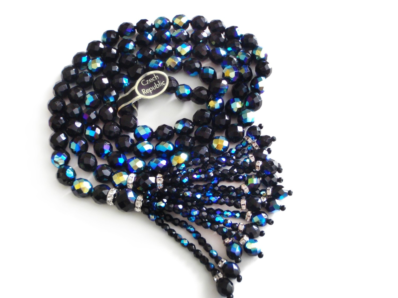 Vintage Czech Bohemian Iridescent Black Beads 48 Inch Necklace