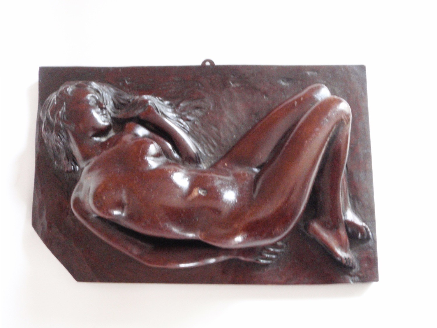 Antique Nude Hand Carved Wood Architectural Wall Art