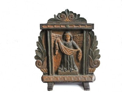 Hand Carved Angel Wood Panel Hand Painted Religious Table Icon