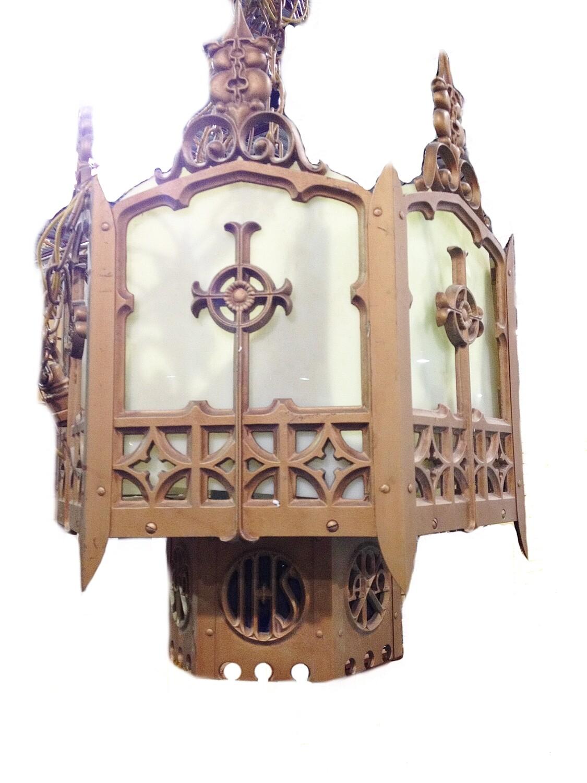 Art Deco Church Chandelier 5 Panel Ceiling 1920's Lighting