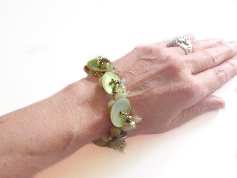 Mother of Pearl Pale Green Bracelet - Summer Dangle Drop Beads