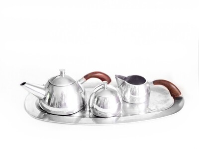1930s Mexican Silver 5 Pc Tea Set Wood Handles Art Deco Hecho en Mexico