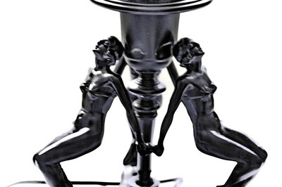 1920s Art Deco Three Nudes Table Lamp Naked Burlesque Dancers