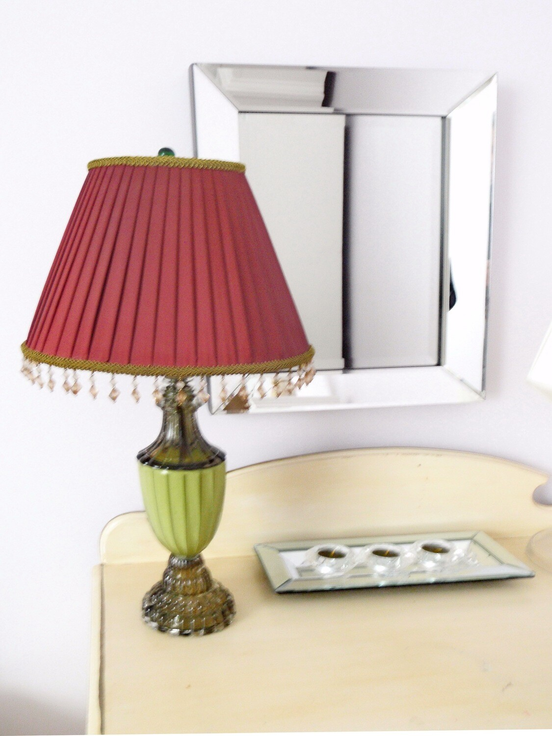 Art Deco 1930s Table Boudoir Lamp Chartreuse Base Red Pleated Shade with Beading
