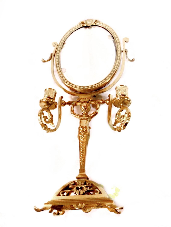 Antique Bronze Putti Candelabra Cheval Mirror 1800s French Candle Holder