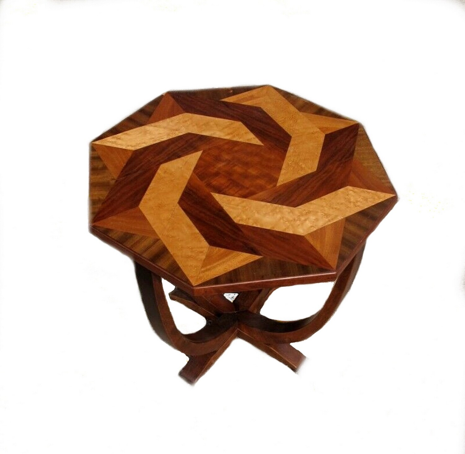 Art Deco 1920s Exotic Wood Occasional Table Maple, Walnut and Mahogany