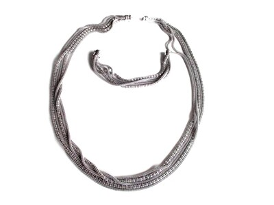 Vintage Italian Multi Strand Sterling Silver 31 Inch Necklace Bracelet Set