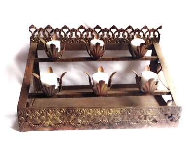 Antique Church Votive Candle Holder Religious Salvage Candle Holders for 6 Candles