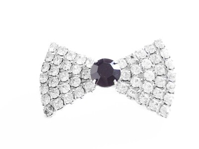 Vintage 1980's Bow Tie Brooch Clear and Black Rhinestones