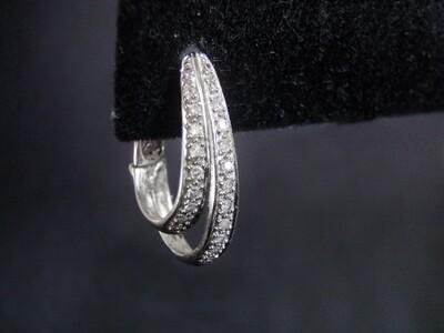 Solid 14k White Gold Diamond Modern Pierced Earrings