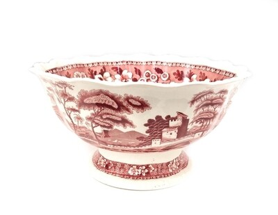 11 Inch Spode Pink Tower Salad Bowl - Punch Bowl Ladle Pink Red Transferware Server
