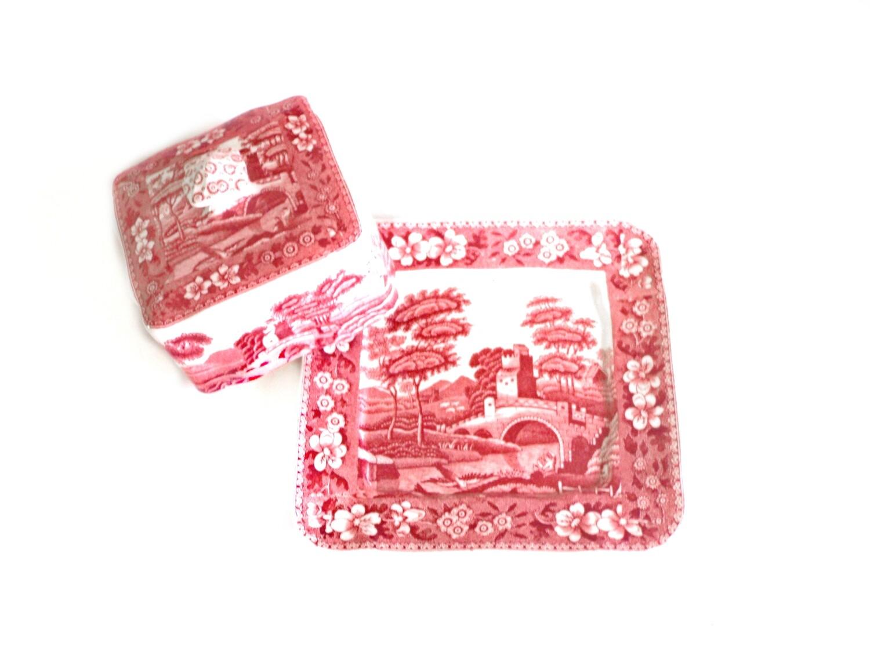 Vintage Spode Pink RARE Covered Square Butter Server