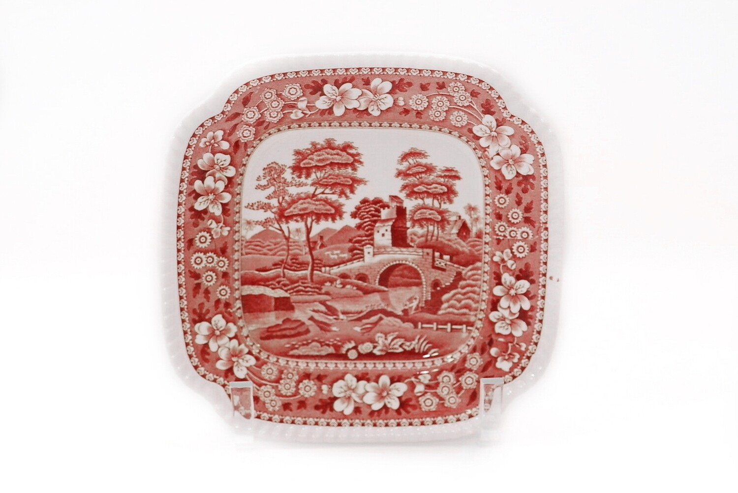 8 Spode Pink Tower 8 1/4 Inch Square Plates Gadroon Rimmed Pink Transferware